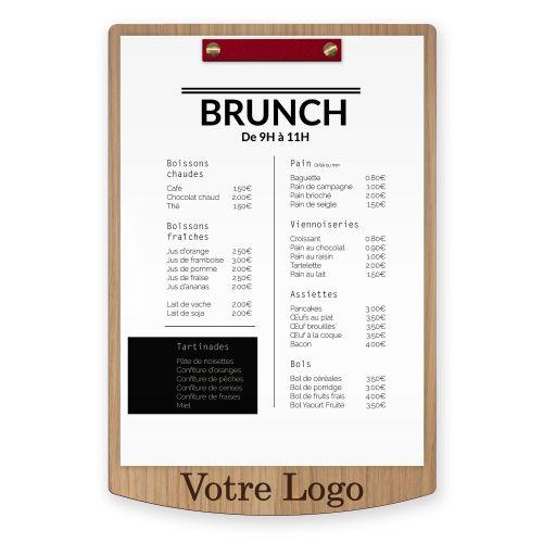 Porte-menu en bois, gravure, avec fixation en cuir. Planche en bois.
