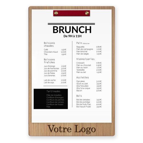 Porte-menu - Vis + Barre - Cuir - Haut - Logo Bas