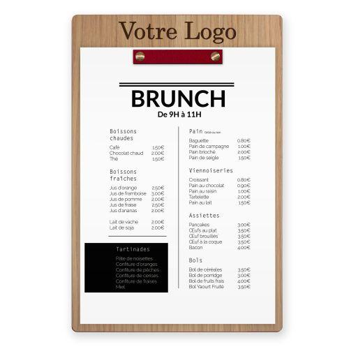 Porte-menu - Vis + Barre - Cuir - Haut - Logo Haut