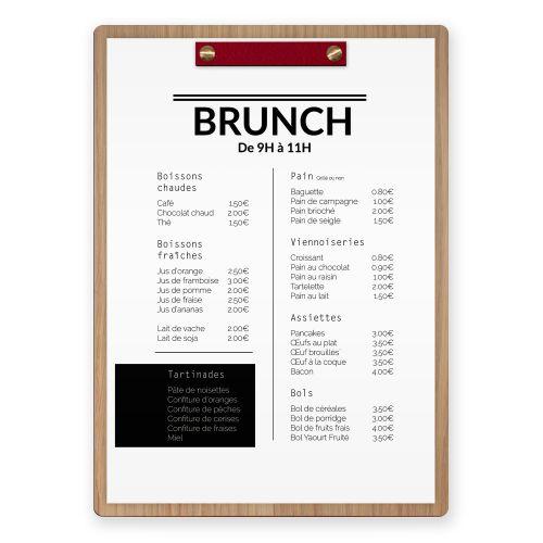 Porte-menu en bois avec fixation en cuir.