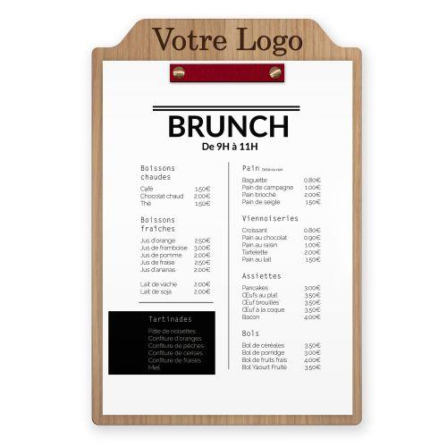 Porte-menu en bois avec fixation en cuir. Planche bois gravée.
