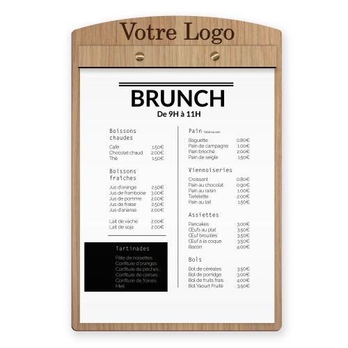 Porte menu et planche de restaurant en bois pour hotel et restaurant