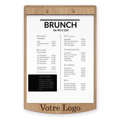 Porte menu et planche en bois pour restaurant et hotel